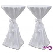 vidaXL Bijeli stolnjak za stolove s vrpcom 70 cm 2 kom