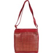 JACY LONDON Women Casual Red Leatherette, PU, Cotton Sling Bag