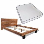 vidaXL Легло с матрак от мемори пяна, акация масив, 180x200 см
