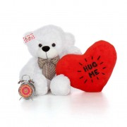 2.5 Feet White Big Bow Teddy Bear holding Hug Me heart