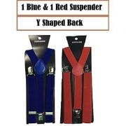 Suspender For Men Y-Shaped Back set of 2 Color Blue and Red