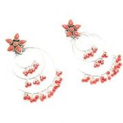Handmade Earrings 925 Sterling Silver Natural Orange Coral Stone Designer