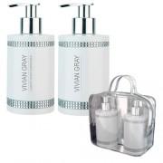 V&V Dárková sada VIVIAN GRAY CRYSTALS WHITE - tekuté mýdlo + tělové mléko 250 ml - Vivian Gray