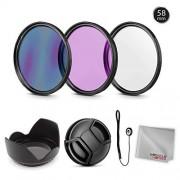 Zeikos Kit de filtros de Lente Profesional de 58 mm, multirevestimiento, UV-CPL-FLD, tulipn, Tapa de Lente y capuchn de Lente con Bolsa y pao de Microfibra milagroso