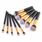 Set 10 pensule machiaj Cosmetic Par Natural-Sintetic Make-up Profesional Negre + Trusa Corector + Burete Machiaj Cadou