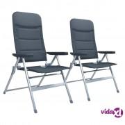 vidaXL Nagibne vrtne stolice 2 kom aluminijske sive
