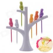 Estilo bird-on-the-tree birdie tenedor de frutas + soporte - blanco