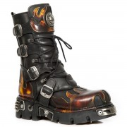 stivali in pelle - Flame Boots (591-S1) Black-Orange - NEW ROCK - M.591-S1