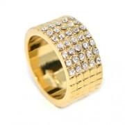 Swarovski kristályos Arany színű széles gyűrű,-8