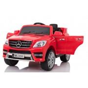 Mercedes-Benz ML 350, Roșie, licență originală, pe baterii, uși care se deschid, scaun din piele, 2x motor, baterie de 12V, telecomandă 2,4 Ghz, roți moale EVA, pornire ușoară, amortizare