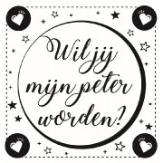 Wijnetiket Sticker - Wil je mijn Peter worden? Black&White