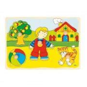 Puzzle din lemn Baietel si Pisicuta