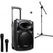 Ibiza Port8VHF-BT, mobil PA hangszóró, bluetooth, USB, SD, 200 W, RMS, mikrofonállvány (7137-MIC)
