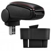Подлакътник [pro.tec]® Opel Corsa D с контейнер за съхранение, еко кожа - черен, червен шев