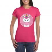 Bellatio Decorations T-shirt eenhoorn roze dames