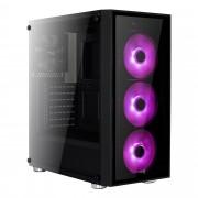 Caixa AEROCOOL Quartz RGB Temp.Glass ATX case, 4 X 12cm Fans: 3X RGB Light c/ P7-H1 HUB - QUARTZRGB