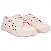 Blinder womens Pink Golden Star Lace-Up Casual Sneakers Shoes