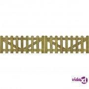 vidaXL Vrata za ogradu od kolaca 2 kom od impregniranog drva 300x60 cm