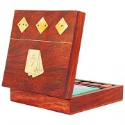 The Great Indian Bazaar Unique Birthday Ideas Handcrafted Classic Wooden Playing Card Holder Deck Box Storage Case Organizer with Dice & Single Pack of 'Ace' Cards Anniversary