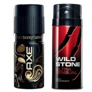 Axe and Wild Stone Deodorant - Set of 2 pcs Combo For Men