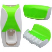 Automatic Toothpaste Dispenser Automatic Squeezer and Toothbrush Holder Bathroom Dust-proof Dispenser Kit Toothbrush Holder Sets (Green) StyleCodeG-05