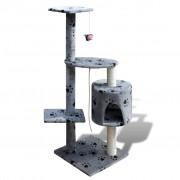 vidaXL Arranhador para gatos com gatera, 114 cm / Cinza com cópia da pata