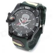 reloj de pulsera analogico cuarzo banda de silicona cuarzo deportes al aire libre - camuflaje + negro