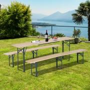 Outsunny Conjunto de Muebles para Jardín, Terraza, Patio, Camping o Picnic – Color Madera – Hierro y Madera – 2 Bancos + 1 Mesa