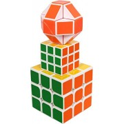 Emob 3 in 1 3X3 Magic Rubik 3X3 Big, Mini and Snake Cubes Puzzle Game Toys for Pack of 03