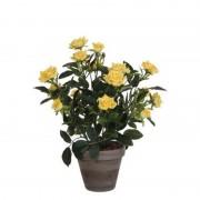 Mica Decorations Gele rozen kunstplant 33 cm met pot stan grey - Kunstplanten
