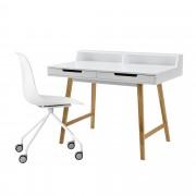 [en.casa] Escritorio retro + silla blanco mesa de ordenador consola diseño