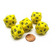 Koplow Games Set of 5 D24 Opaque 24mm 24-Sided Gaming Dice - Yellow with Black Numbers #11794