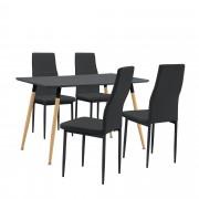 [en.casa]® Mesa de comedor Minimalista - Gris lacado mate - 120cm x 70cm x 75cm - para 4 Personas - Set de 4 x Sillas de diseño - Negro - 96 x 43 x 52 cm - Juego de comedor