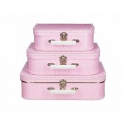 Geen Speelgoed koffertje roze met stippen wit 25 cm