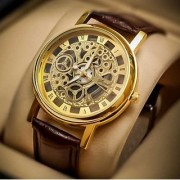 KH collection Round Dial Brown Leather Strap Quartz Watch For Men
