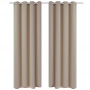 vidaXL 2 pcs Cream Blackout Curtains with Metal Rings 135 x 245 cm