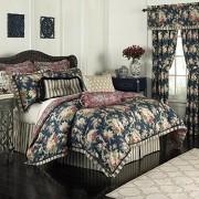 Waverly 14922beddknghtb Santuario Rosa 110-inch por 96-Inch 4 Piezas Juego de edredón King, Heritage Azul