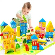 Zhisheng You 100 Piece City Traffic Wooden Building Blocks Stacking Set Toys For Kids Gift