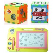 New Pinch combo of Kids Drawing Writing Board Magic Slate and Multi-Puzzle Cube Toy Block for Kids (multi color)