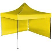 Gyorsan összecsukható sátor 3x3 m – acél, Sárga, 2 oldalfal