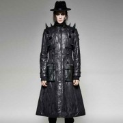 Punk Rave Hell Guard Horn Long Leather Coat Black Y-699
