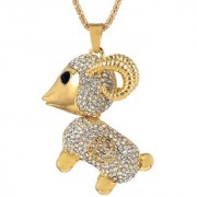 MissMister CZ studded Lamb Sheep Animal Gold plated Jewellery pendant for Women and Girls