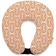 ORKA Digital Printed Spandex With Micro Beads U Neck Pillow(Coral And White)