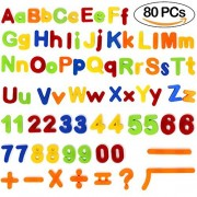 Tacobear Magnetic Letters and Numbers for Educating Kids Educational Toddlers Toys Preschool Learning Alphabet Refrigerator Magnets 80 Pieces with Gift Pack