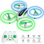 OKPOW Drones para niños, dron RC fácil de volar con luces azules y verdes, vuelo de 30 minutos, control de tres velocidades, giro 3D, retención de altitud, modo sin cabeza, juguete de cumpleaños para niños, niñas y principiantes