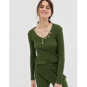 ASOS DESIGN mix & match ribbed long sleeve top with tortoishell buttons-Green