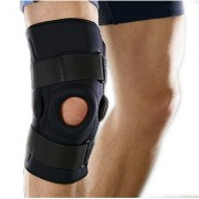 Kudize Functional Knee Support Compression muscle Joint Protection Gym Wrap Open Patella Hinge Brace Support Black (3XL)
