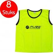 Pure2Improve - 8 stuks - voetbal hesjes - geel - maat senior - trainings hesjes - voetbal hesje - trainingshesjes