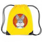Bellatio Decorations Konijn dieren trekkoord rugzak / gymtas geel voor kinderen