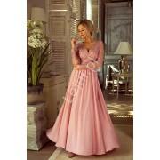 Długa suknia na wesele z delikatnym rękawem - suknia wieczorowa Luna pustynny róż